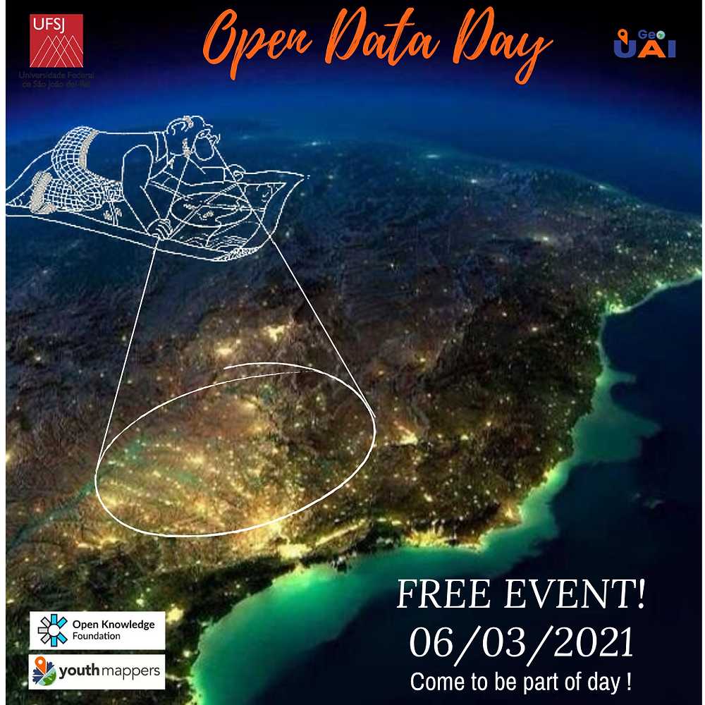 """Flyer promoting the event UAIGeo chapter's event stating: """"Open Data Day Free Event 06/03/2021 Come to be part of the day!"""""""