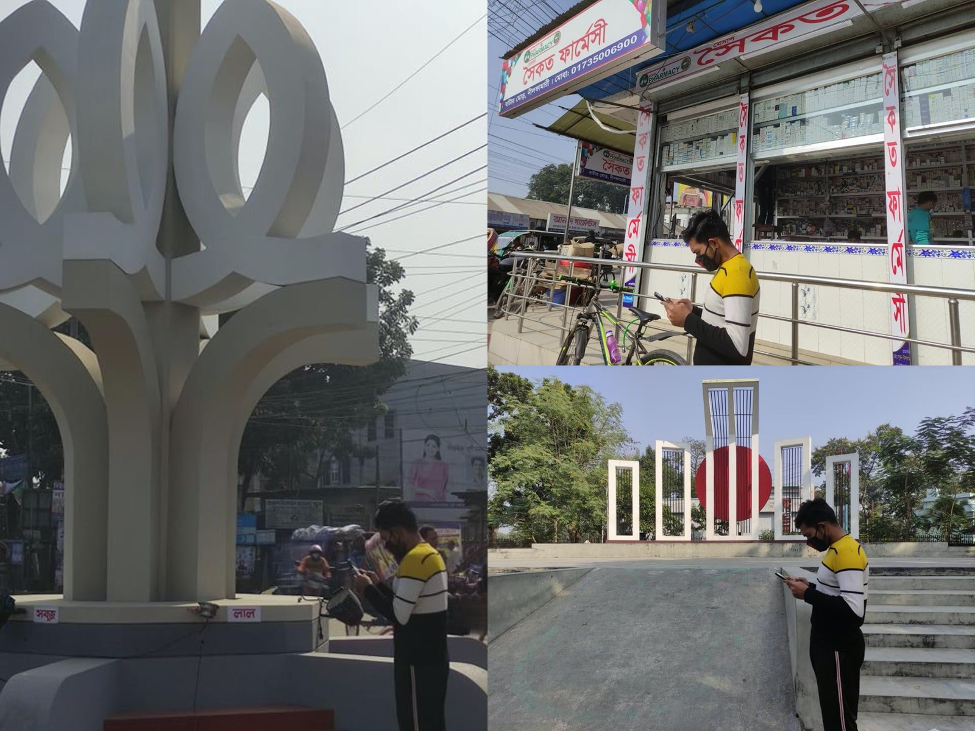 Three photos in a collage featuring a man holding a phone in front of two monuments and at a local shop.
