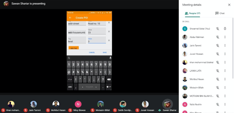 Screenshot from virtual call showing the Mobile Data Collection Tool with editable options and a keyboard.