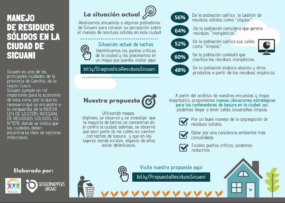 Flyer in Spanish about Manejo De Residuous Sólidos en la ciudad de Sicuani.