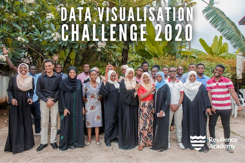 """25 males and females captured in a photo with the words """"Data Visualisation Challenge 2020"""" edited in white letter with the Resilience Academy logo in the right hand corner."""