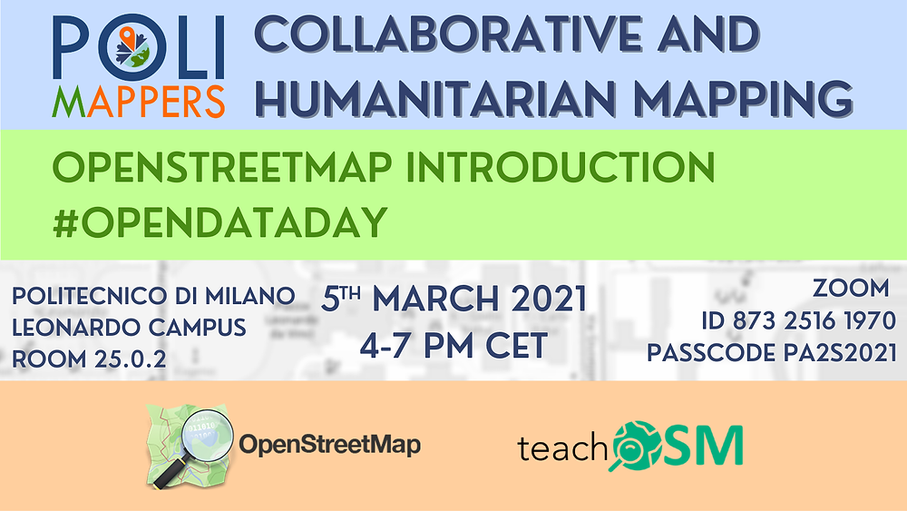 Flyer promoting PoliMapper's Event Collaborative and Humanitarian Mapping OpenStreetMap Introduction on 5th March 2021 4-7pm CET.