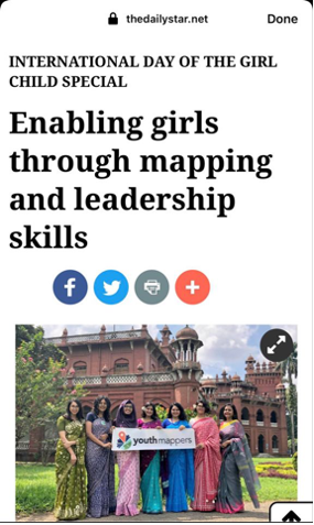 "Screenshot of article stating ""INTERNATIONAL DAY OF THE GIRL CHILD SPECIAL Enabling girls through mapping and leadership skills."" With a picture of 7 females dressed in sarees holding a YouthMappers banner."