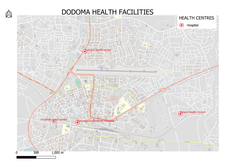 Map of Dodoma with 4 hospital points