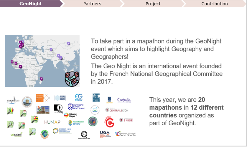 White slide with a map of Africa, Europe, and Asia with lots of purple dots and many logos. The slide text explains GeoNight as an international event founded by the French National Geographical Committee in 2017.