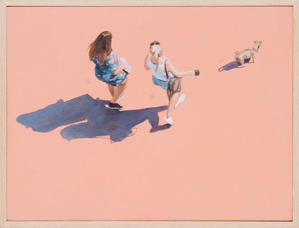 KIRSTEN BEETS. Peaches, 2018. Oil on board. 160 x 210mm. Framed.JPG