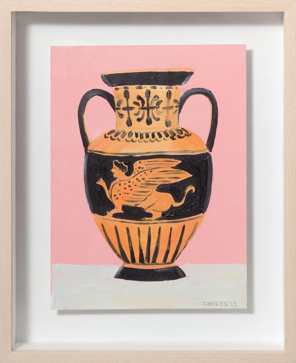 KIRSTEN BEETS. Pink Sphinx, 2019. Oil on paper. 270 x 220mm. Framed.JPG