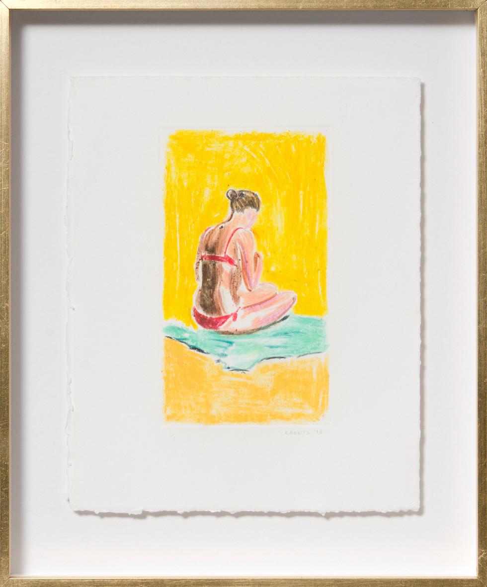 KIRSTEN BEETS. Gold, 2018. Watercolour monotype. 295 x 245mm. Framed.JPG