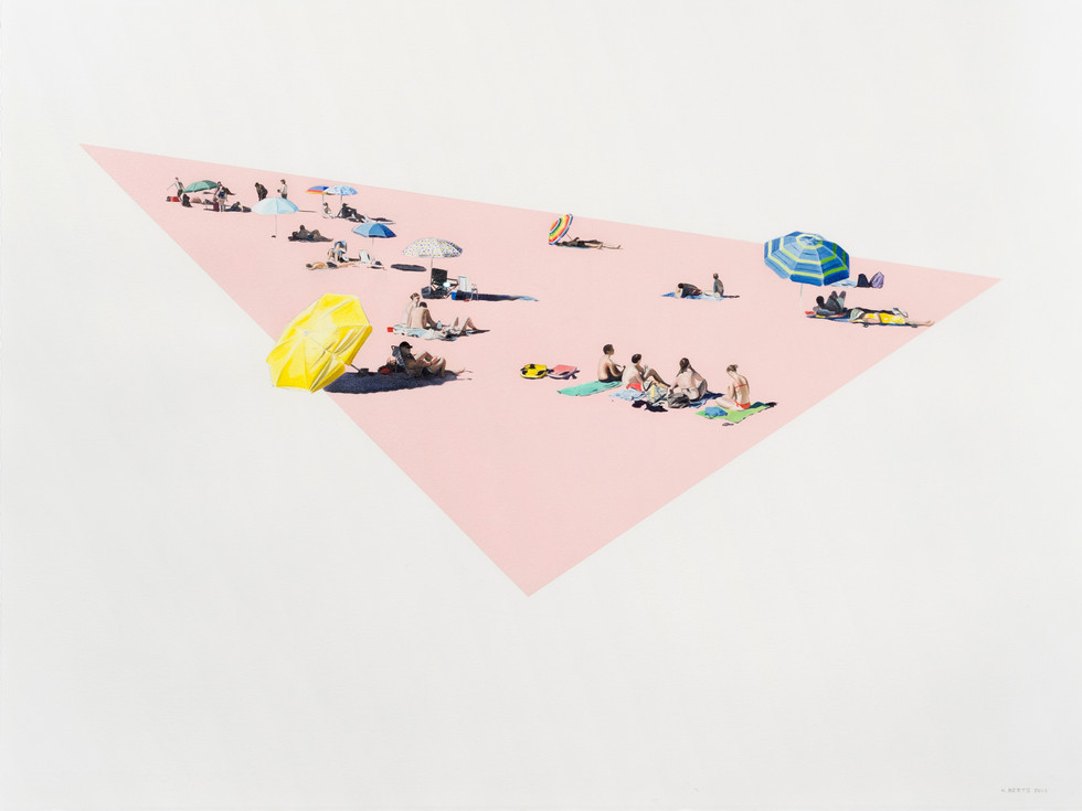 KIRSTEN BEETS. Flamingo Beach, 2017. Oil on paper. 615 x 810mm. Framed.JPG