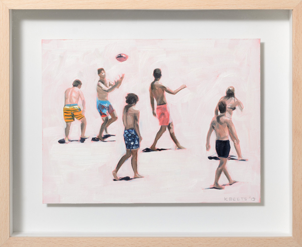 KIRSTEN BEETS. Catch, 2019. Oil on paper. 220 x 270mm. Framed.JPG