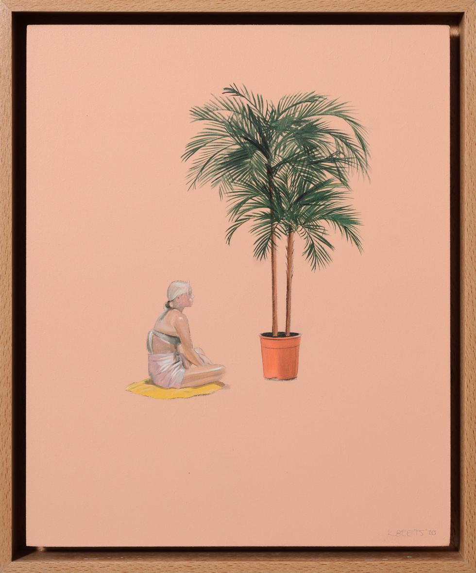 KIRSTEN BEETS. Golden Girl, 2020. Oil on board. 295 x 245mm. Framed.JPG