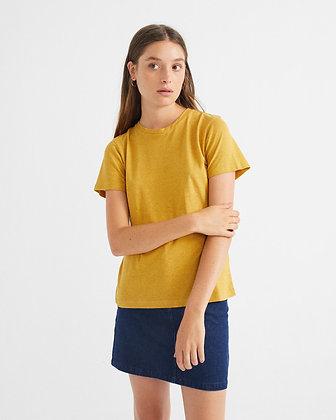 Shirt aus Hanf in gelb von Thinking Mu