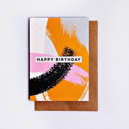 Klappkarte Pink Mustard Swirl Birthday The Completist