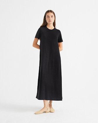 Kleid Oueme aus Hanf in schwarz von Thinking Mu