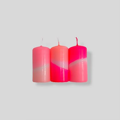 Stumpen Kerzen 3er-Set Dip Dye Neon Flamingo Cookies von Pink Stori