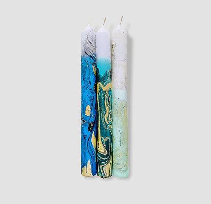 Kerzen 3er-Set Dip Dye Marble Neptun von Pink Stories