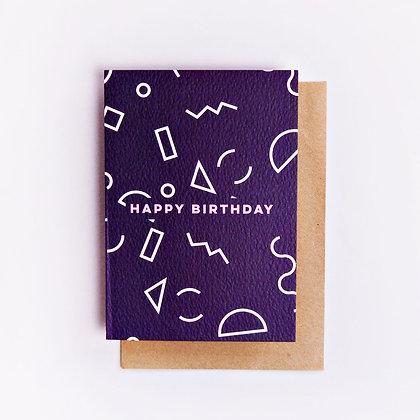 Klappkarte Birthday mini Memphis Shapes The Completist