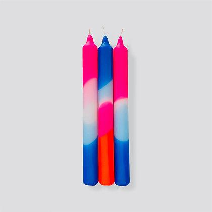 Kerzen 3er-Set Dip Dye Neon Blue Moon von Pink Stories