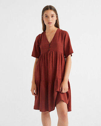 Fresia Dress aus Hanf in rot von Thinking Mu