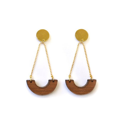 Holz - Ohrringe Halfround von AllThingsWeLike