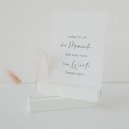 Karten- & Blumenständer 2er Set Herz weiß von Eulenschnitt