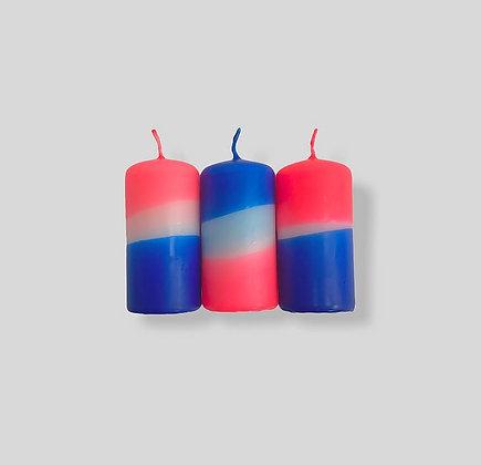 Stumpen Kerzen 3er-Set Dip Dye Neon Moon Dust von Pink Stori
