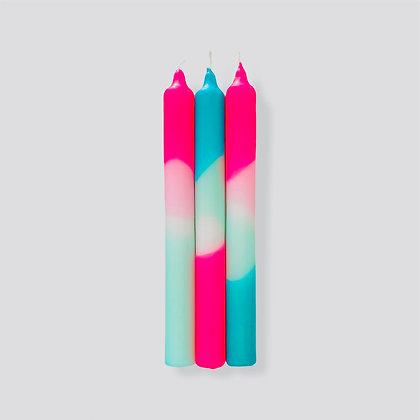 Kerzen 3er-Set Dip Dye Neon Peppermint Cloud von Pink Stories