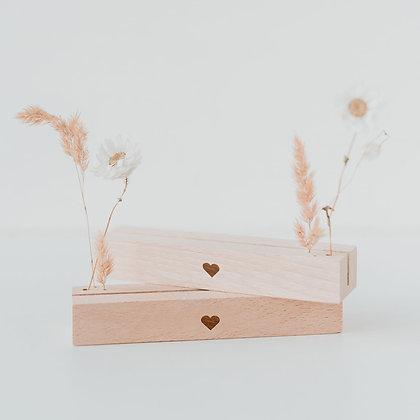Karten- & Blumenständer 2er Set Herz natur von Eulenschnitt