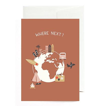 """Grußkarte """"Where next"""" von Roadtyping"""