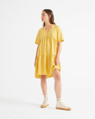 Fresia Dress aus Hanf in gelb von Thinking Mu