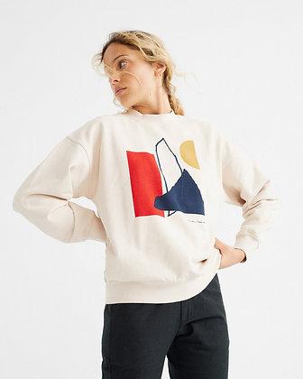 Cremefarbenes Sweatshirt Abstract von Thinking Mu