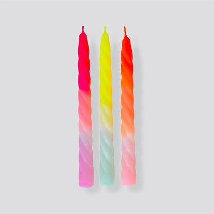 Kerzen 3er-Set Dip Dye Twisted Shades of Fruit Salad von Pink Stories