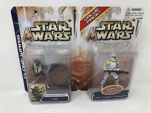 Clone Wars Yoda & Clone Trooper Commander Set Hasbro