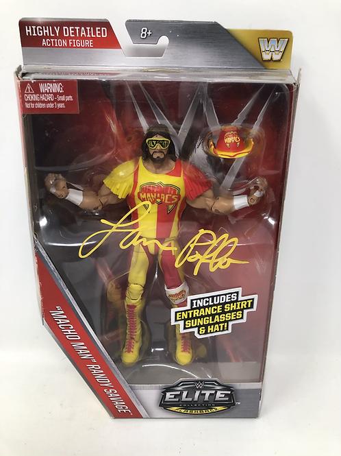 Macho Man Randy Savage Mattel Elite Figure Signed by Randy's Brother Lanny Poffo