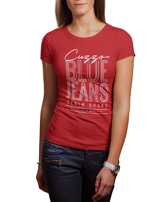 Cuzzo® Unisex Women's Blue Jeans Tee (Red-white)
