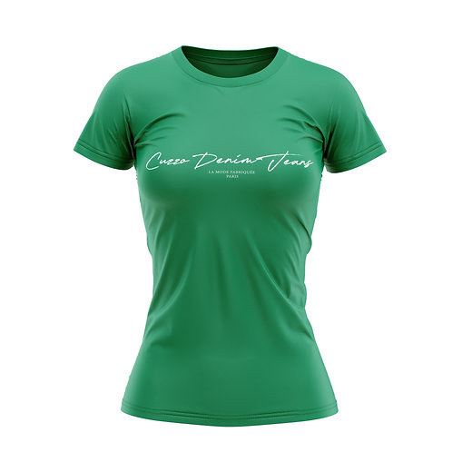 Cuzzo® Unisex Women Scripted Tee  (Green-White)