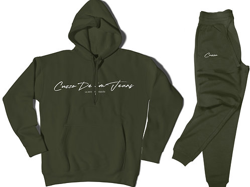 Cuzzo® Scripted Jogger Set (Military Green-White)