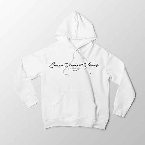 Cuzzo® Scripted Hoodie (White-Black)
