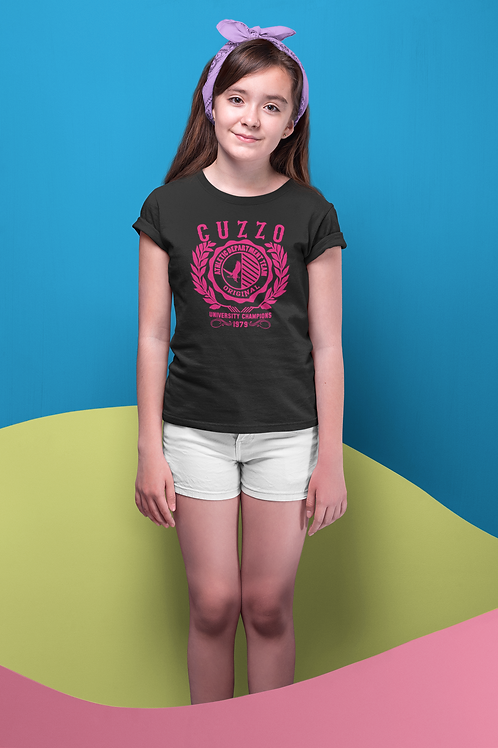 Girls Champion Youth Tee (Black-Pink)