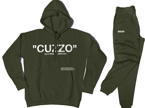 Cuzzo® Quote ME Jogger Set (Military Green-White)
