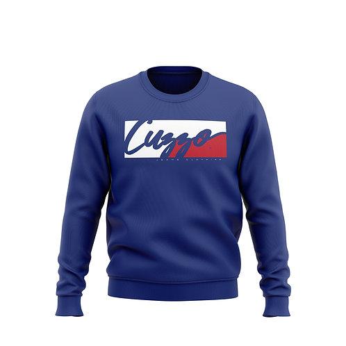 Cuzzo® Signature Block Sweatshirt  (Royal/Red-White)**