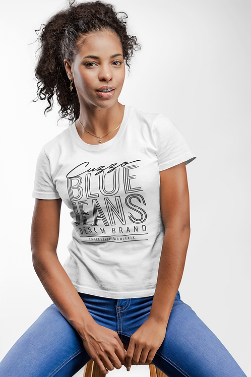 Cuzzo® Unisex Women's Blue Jeans Tee (White-Black)