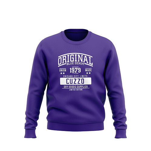City-Limits Crewneck Sweatshirt (Purple-White)