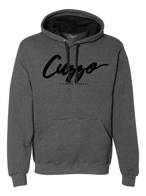 Cuzzo® Lineup Striped Signature Hoodie (Black-Black)