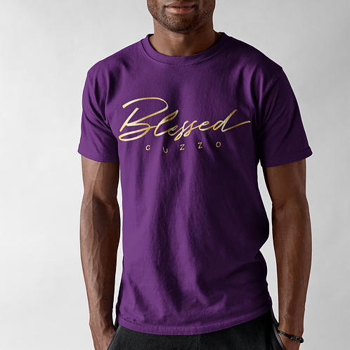 Cuzzo® Double Blessing Tee (Purple-Gold Foil)