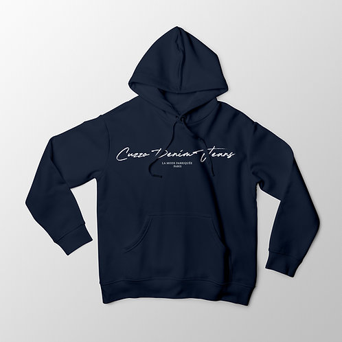 Cuzzo® Scripted Hoodie (Navy-White)