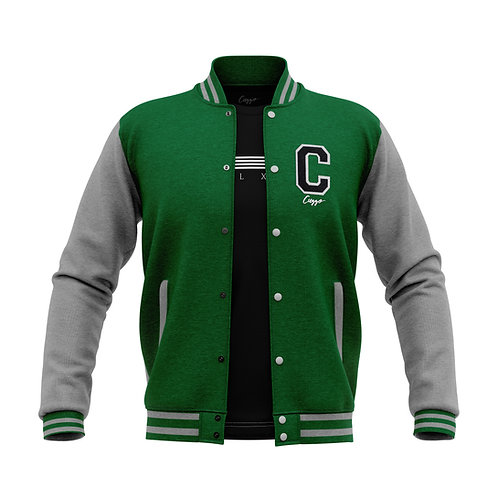 Cuzzo® Letterman Jacket (Green-Heather Grey)