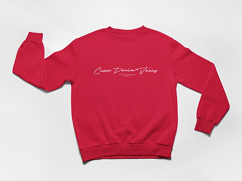 Cuzzo® Scripted Sweatshirt (Red-white)