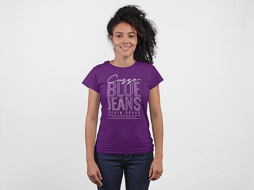 Cuzzo® Unisex Women's Blue Jeans Tee (Purple-White)