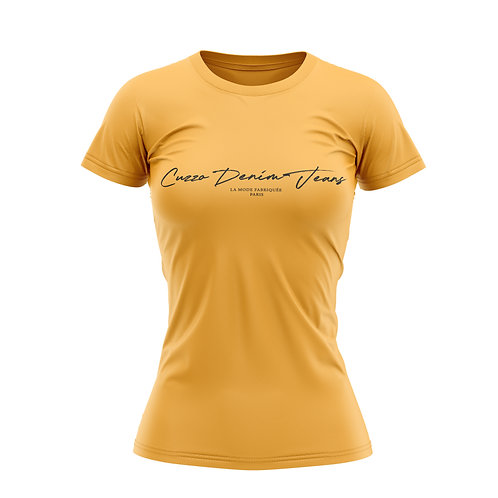 Cuzzo® Unisex Women Scripted Tee (Gold-Black)